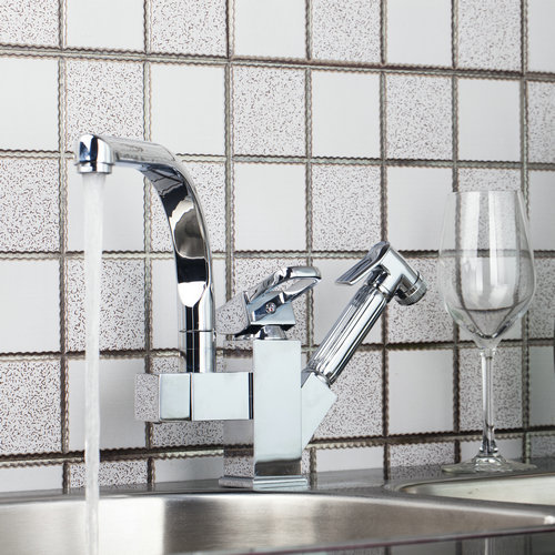 Deck Mounted Kitchen Faucet Pull Out UP Down Swivel Chrome Brass 92347SP036 Water Lavabo Sink Cozinha