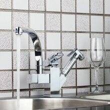 Бортике кухонный кран Pull Out Up & Down поворотный хром латунь 92347SP036 воды Lavabo Cozinha раковина torneira кран, смеситель