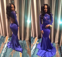 Blue 2019 Prom Dresses Mermaid Long Sleeves Appliques Backless Sexy Party Maxys Long Prom Gown Evening Dresses Robe De Soiree