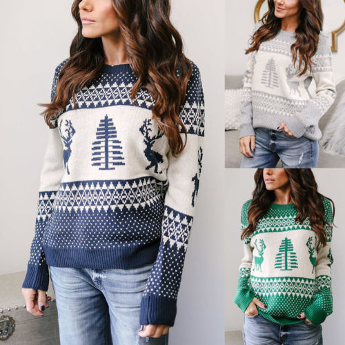 Women Lady Santa Tree Jumper Sweater Pullover Tops Christmas Winter Womens Ladies Warm Brief Sweaters Clothing