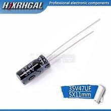 50 قطعة Higt جودة 35V47UF 5*11 مللي متر 47 فائق التوهج 35V 5*11 مُكثَّف كهربائيًا hjxrhgal
