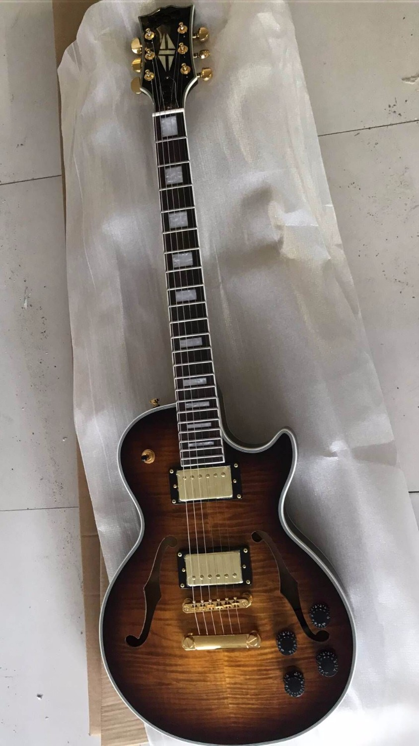 Wholesale Cnbald LP Custom Shop Jazz Electric Guitar Mahogany Semi Hollow Body In Amber Brown Burst 170920 wholesale cnbald 1959 custom signature electric guitar with bridge bigsby 20th anniversary in black 120323