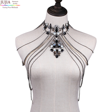 Jujia пикантные Для тела Для женщин Ожерелья кисточкой Boho Цепочки и ожерелья Новинка 2017 года дизайнерские женские себе Плечо цепи