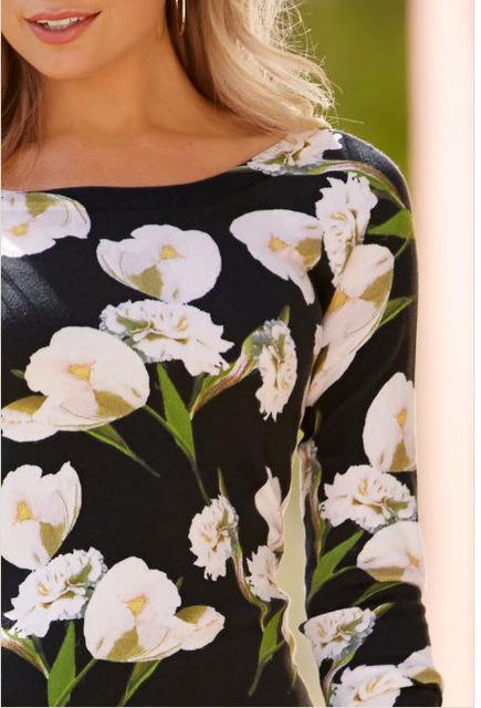 Black Floral Print Cotton O-Neck Women Blouses