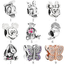 Authentic 925 Silver DIY Jewelry Butterfly Snow White Bird Tiger Eeyore Mouse Charms fit Lady Bracelet Bangle(China)