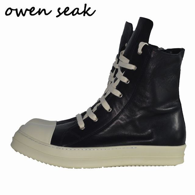 b30078187cbf Owen Seak Men Shoes High-TOP Ankle Boots Casual Genuine Leather Sneaker  Luxury Trainers Boots