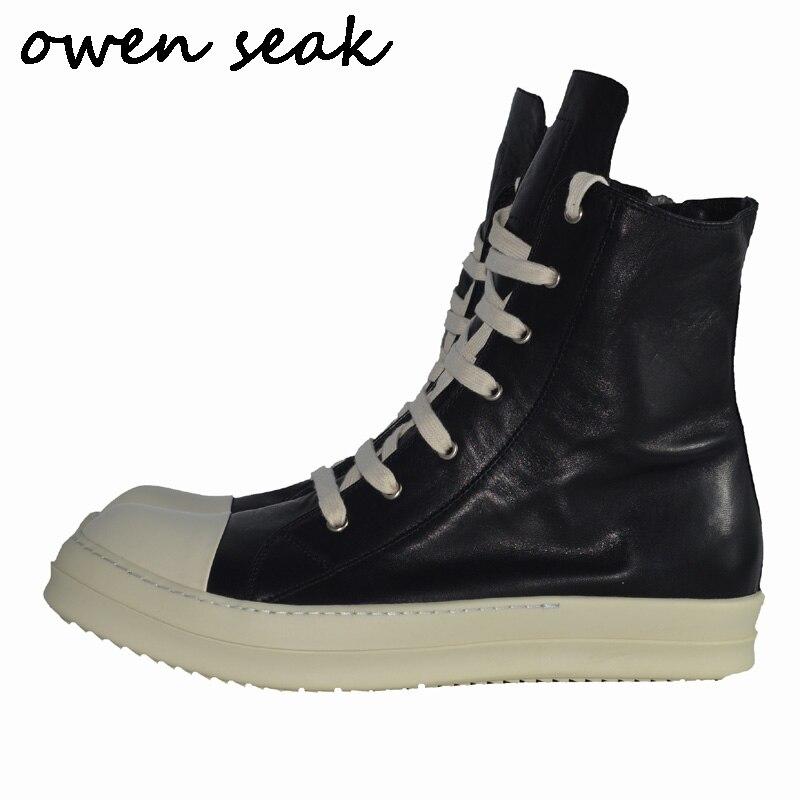 Owen Seak erkek ayakkabısı Yüksek TOP yarım çizmeler Rahat Hakiki Deri Sneaker Lüks Eğitmenler Çizmeler bağcıklı Zip Düz Beyaz büyük Ayakkabı'da  Grup 1