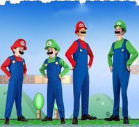 Halloween Cosplay Super Mario Luigi Bros Costume For Kids And Adults Funny Party Wear Cute Plumber