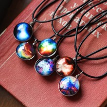 Collares Duplex Planet Crystal Stars Ball Glass Galaxy Pattern Leather Chain Pendants Maxi Necklace For Women Girlfriend Gift