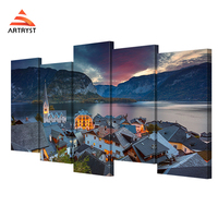 HD prints 5 pcs of canvas art Alps Hallstadt poster landscape on the canvas print home decor living room wall painting picture