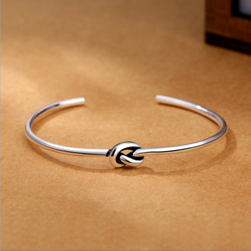 Silver 925 Jewelry Bracelet Simple Love Knot Sterling Silver Slender Round Opening Bracelet For Woman Anniversary Gift