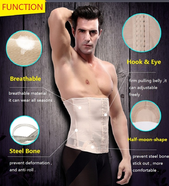 NINGMI Man Shapewear Waist Trainer Body Shaper Slimming Tummy Trimmer Fitness Belly Band Modeling Belt Breathable Corset Cincher 1