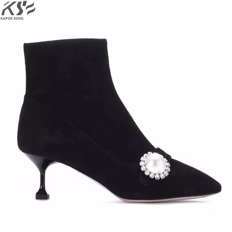 Projektant zimowe prawdziwa skóra zamszowa buty damskie luksusowe projektant marki kobiet moda naprawdę skórzane buty zimowe kobiet w Buty do połowy łydki od Buty na AliExpress - 11.11_Double 11Singles' Day 1