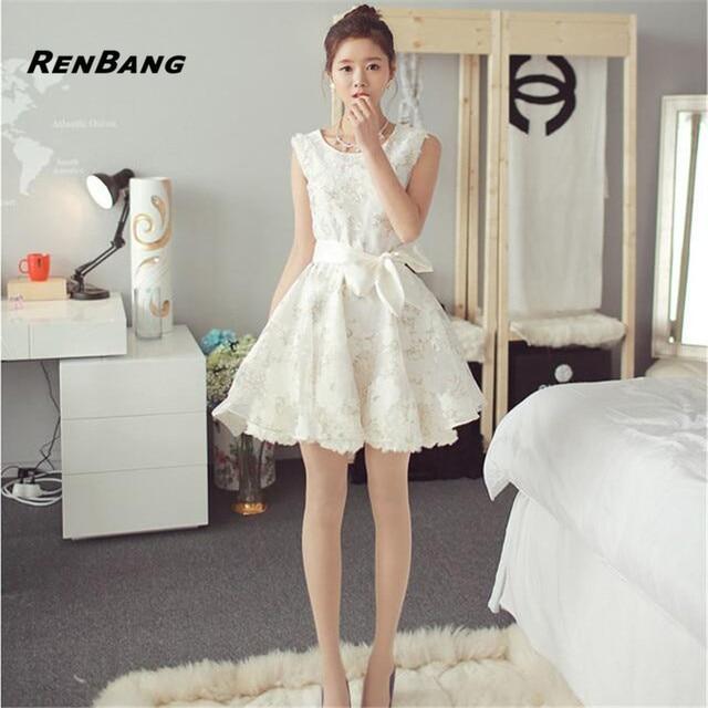 ba5375ec55d RENBANG Fashion Women White Dress Lace Mini Dresses Lady s Princess Party  Dresses Summer Short Ball Gown Plus Size