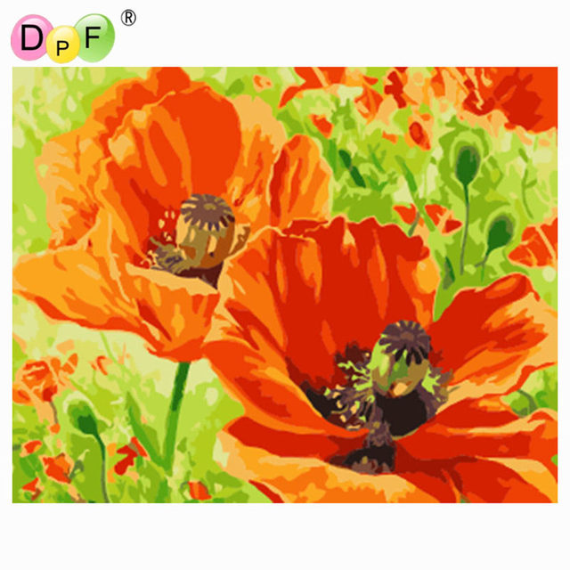 Dpf Diy Oil Painting Poppy Flowers Paint On Canvas Acrylic Coloring