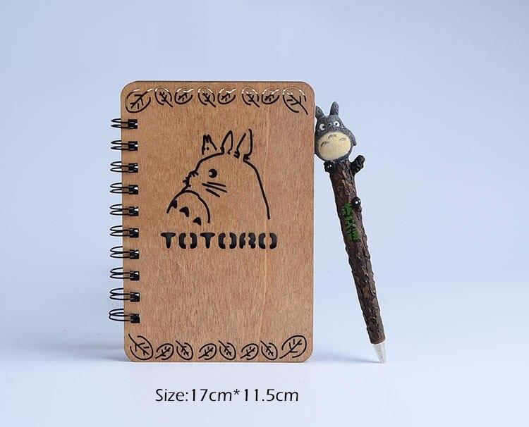 Studio totoro creative houten cover notedbook met hars pen