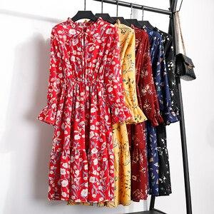 Image 5 - Summer Print Flowers Women Kawaii Dress Korean Casual Long Sleeve Mid Calf Party Dress Vintage Vestidos Cute Clothing