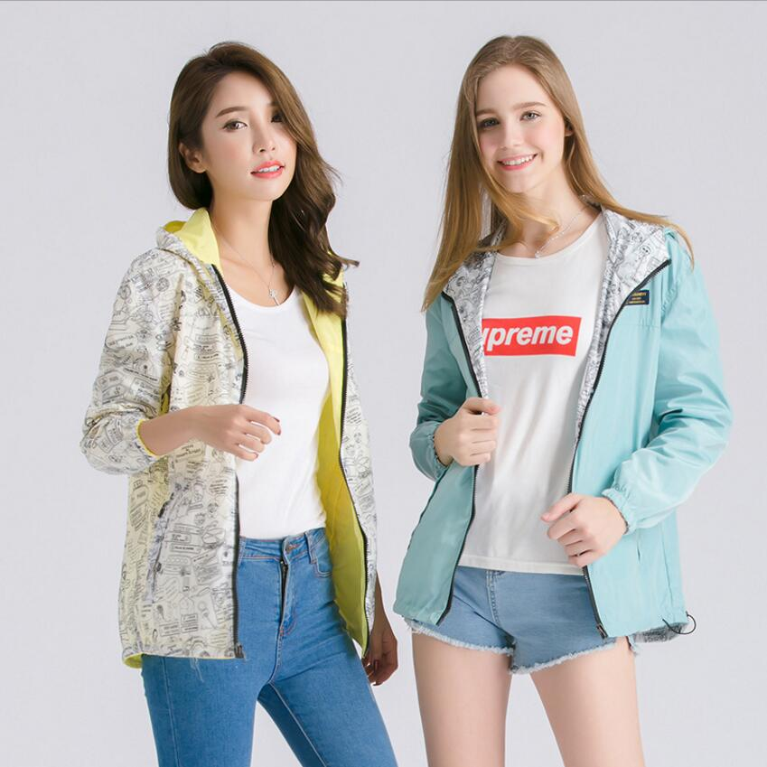 2018 Autumn Women Bomber   Basic     Jacket   Pocket Zipper Hooded Two Side Wear Cartoon Print Outwear Loose Coat Student   Jacket