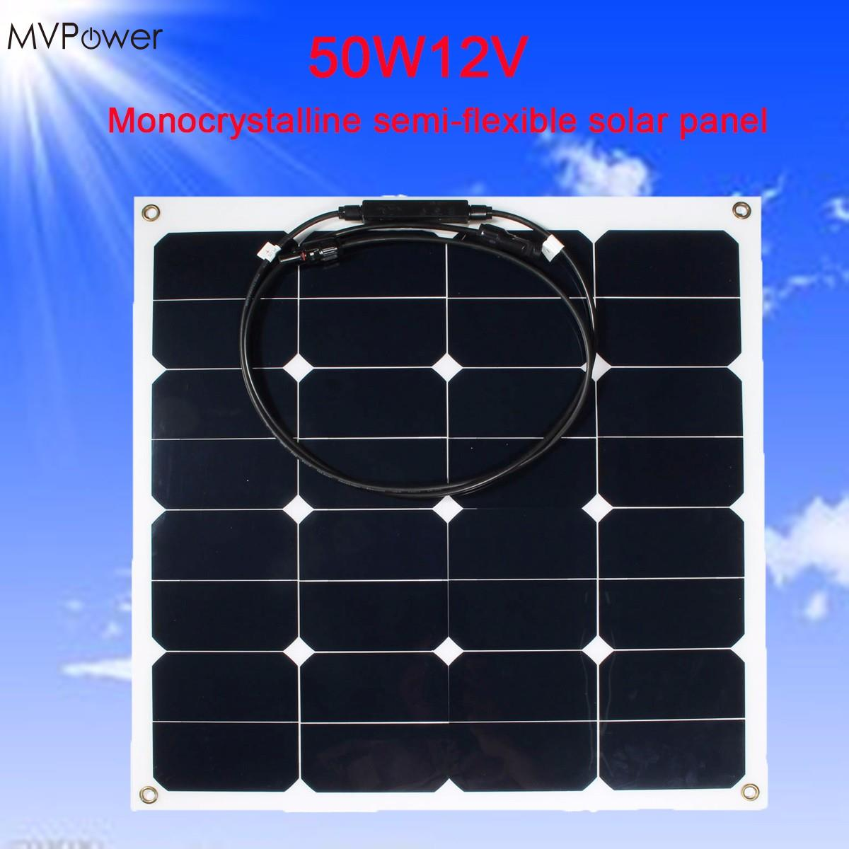 Practical Efficiency 12v 50w Solar Power Bank Sunpower Soft Semi Flexible warterproof Solar Power Panel Tool