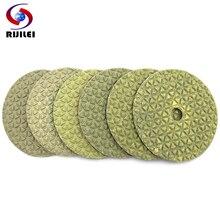 цена на RIJILEI 6Pcs/Set 100mm dry polishing pad 4inch diamond polishing pads Marble polishing pad Use for floor granite Free shipping
