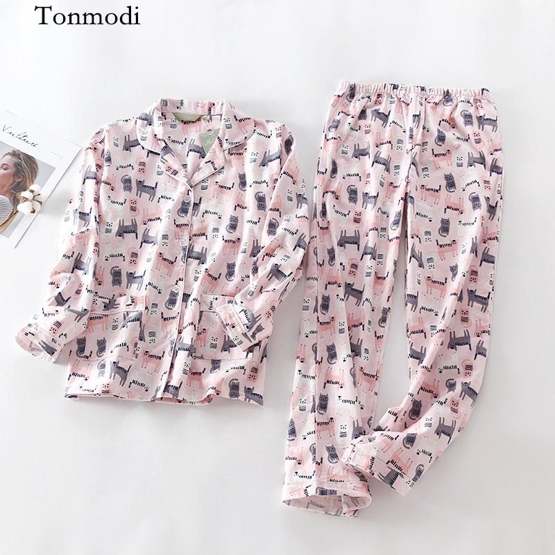 Pajamas For Women Autumn Long Sleeves Cotton Sleepwear Anime Cotton Womens pajamas Pyjamas Set