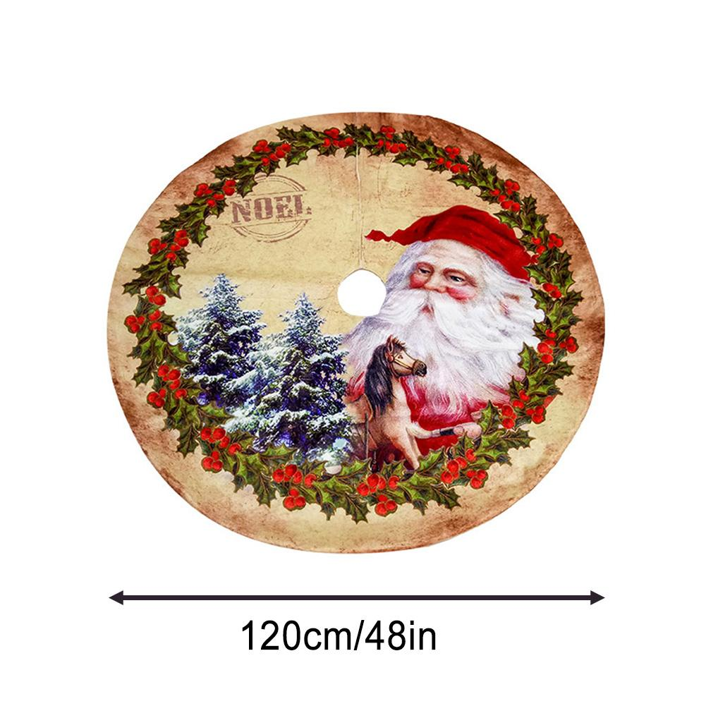 120CM Santa Claus Christmas Tree Skirt Non woven Fabric Cartoon Pattern Christmas Tree Bottom Decoration Tree Skirt in Tree Skirts from Home Garden