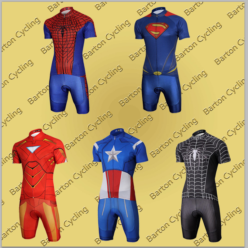 Customize Cool Superhero Cycling Wear Iron Man Batman Superman Captain  America Spider-Man Cycling Jersey Short Bike Clothing Set 6ca1a9b0a