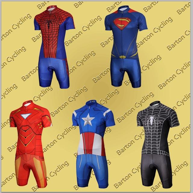 2a38beecc Customize Cool Superhero Cycling Wear Iron Man Batman Superman Captain  America Spider-Man Cycling Jersey Short Bike Clothing Set