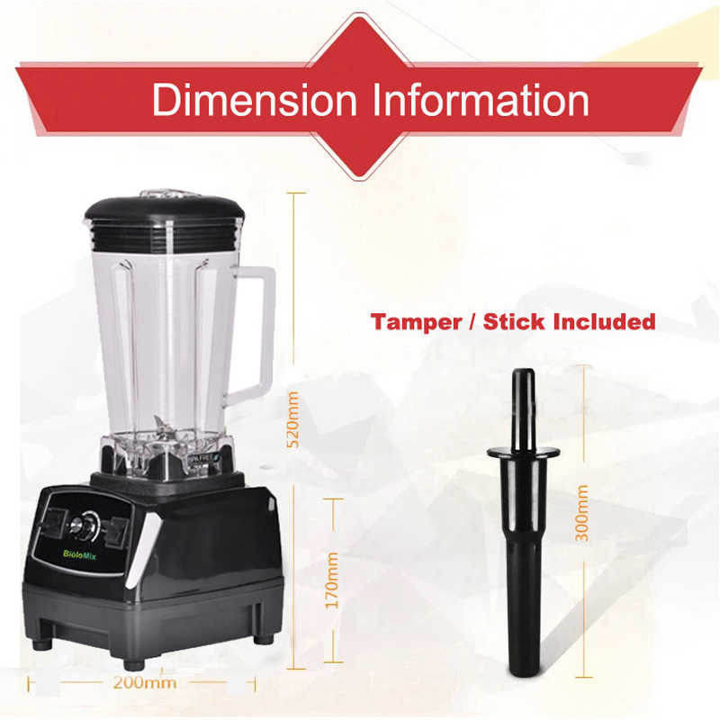 BPA Gratis 3HP 2200W Zware Commerciële Grade Blender Mixer Juicer High Power Keukenmachine Ijs Smoothie Bar Fruit blender