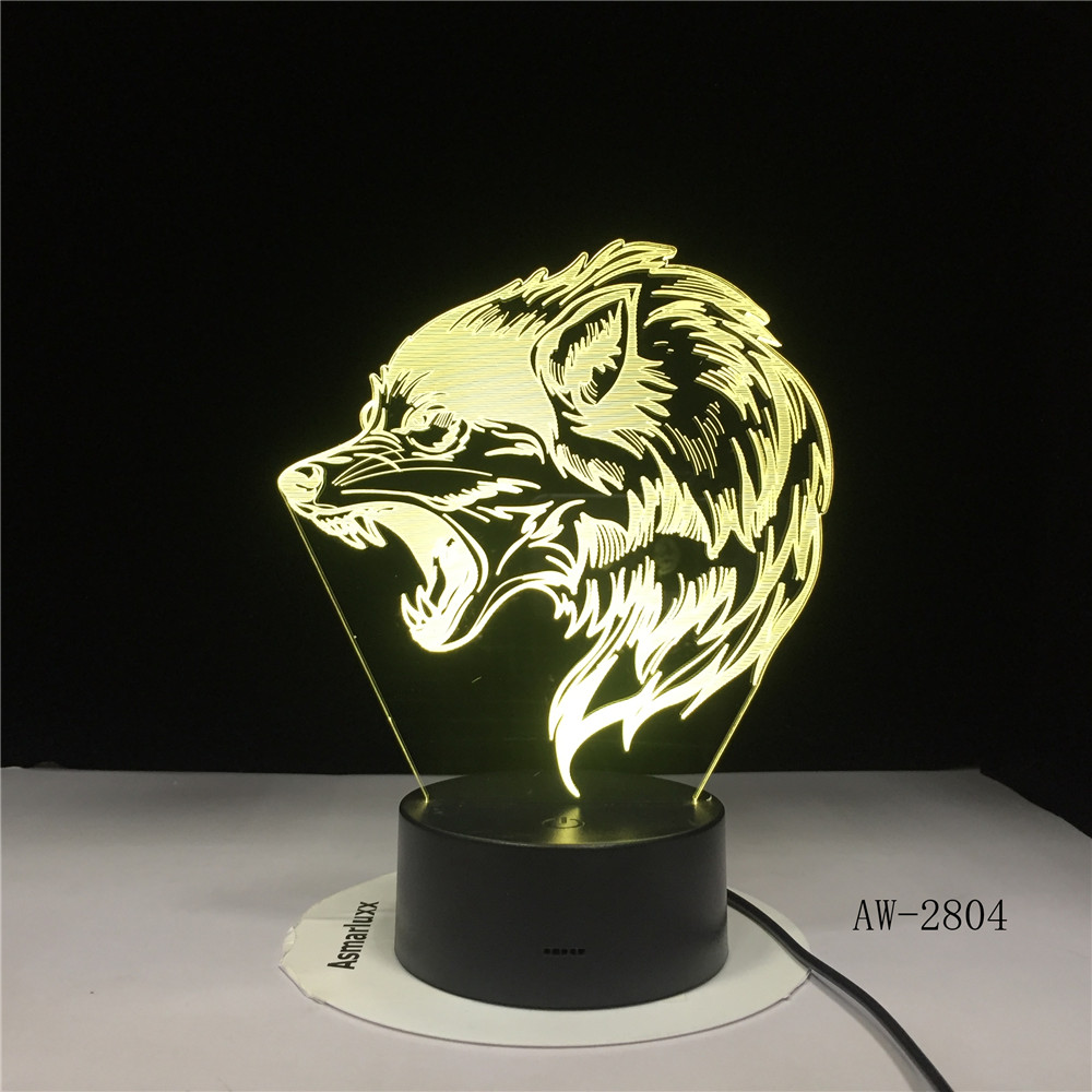 Fierce Wolfs 3D Head LED Table Lamp USB Creative Baby Sleep Night Light Bedside Light Fixture Bedroom Decor Kids Gifts AW-2804
