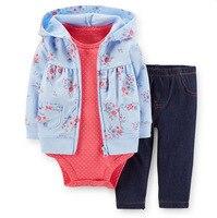 Baby Newborn Baby Girl 3 Piece Set Hoodie Zipper Full Sleeve Knit Jacket Full Tights Children's Autumn / Winter Set