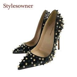 Stylesowner/пикантные женские туфли на высоком каблуке с заклепками; туфли-лодочки на шпильке с шипами; черные вечерние женские туфли с острым но...