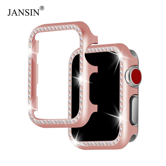 JANSIN metal diamond protective case for apple watch 38mm 42mm 40mm 44mm series
