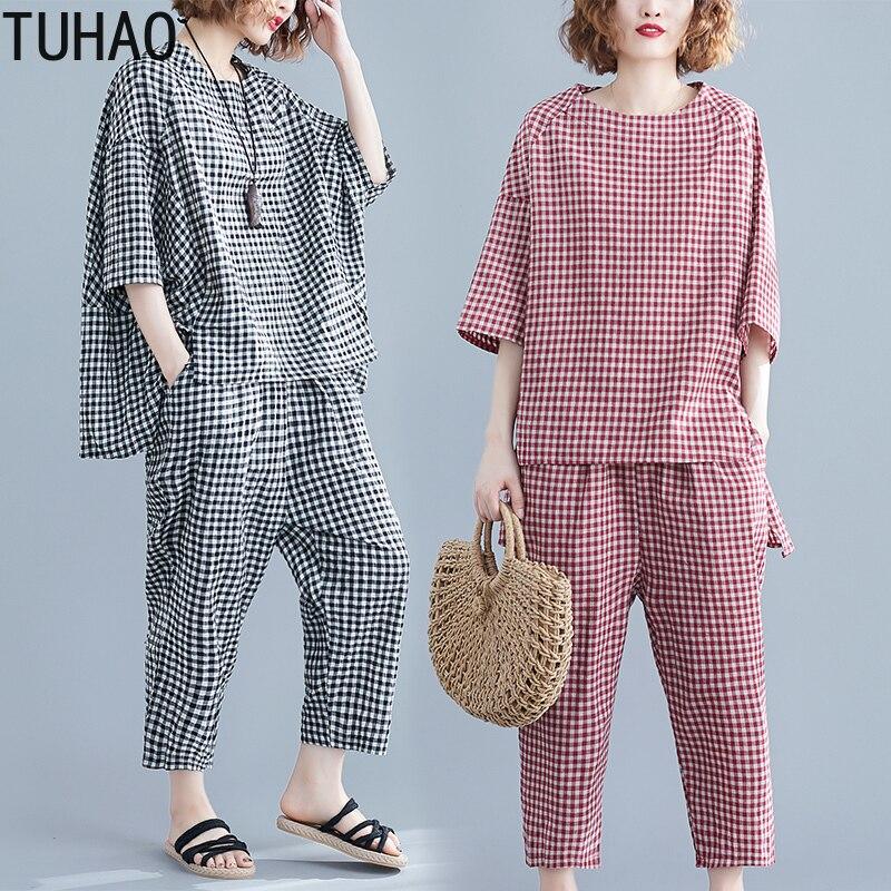 tuhao-2019-sets-womens-outfits-large-size-women's-plaid-suit-summe-elastic-waist-plaid-calf-length-pants-two-piece-suit-lz273