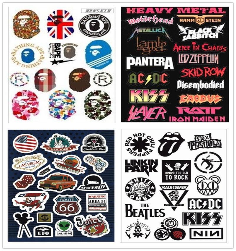 4pcs A4 Rock Guitar Sticker Retro Band Music Logo Sign Car Decal Suitcase Skateboard Sticker Waterproof