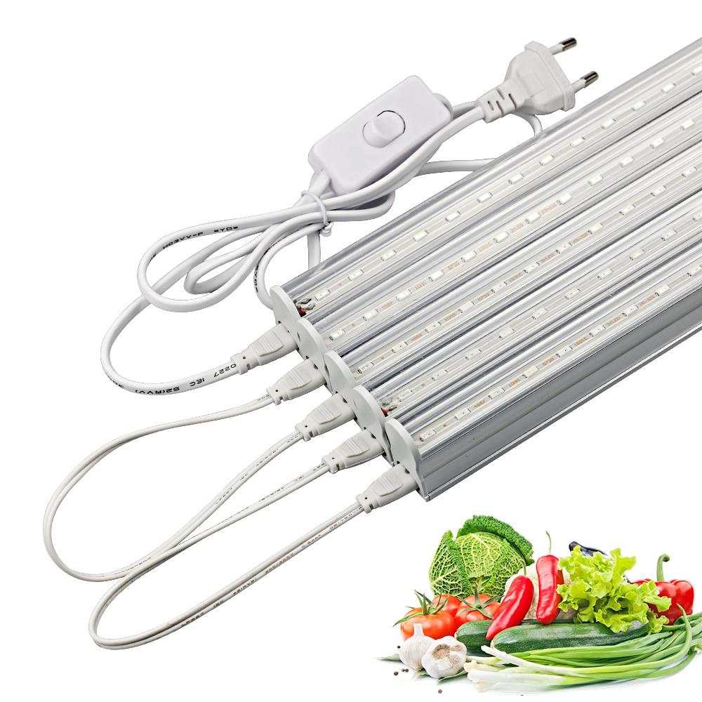 50cm LED Grow Bar Lights Plants Growing lamp Red 660nm Blue 460nm smd 5730 Growth Light Tube + Power cable for flower seedling led grow light 180w 60 3w with all blue 460nm leds and royal blue 450nm for vegetabling lights and lighting