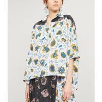 2019 Летняя женская блузка в стиле ретро с морским принтом с цветочным принтом, рубашка, темпераментный топ с манжетами