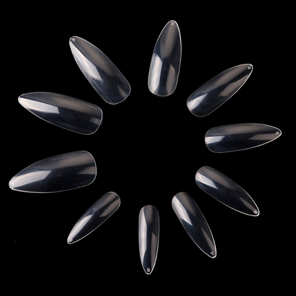 Makartt Long Stiletto 500Pcs Nail Art Tips Clear / Natural Sharp end False Nail Tips palsu Manicure Nail Art Salon A0493