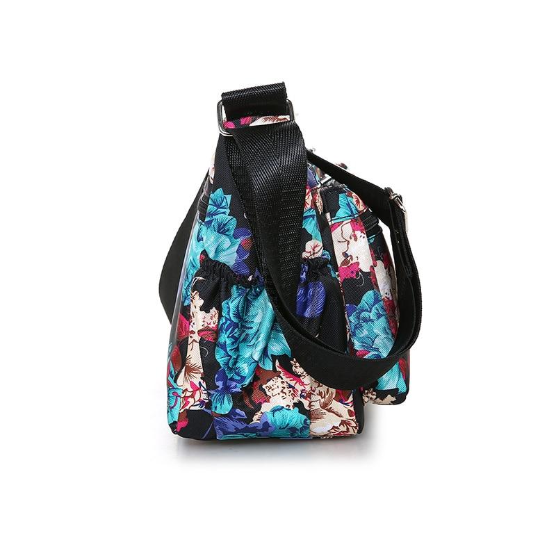 Floral Shoulder Bag Lightweight Nylon Rural Style Crossbody Bag for Women The Rose Pattern Messenger Bag Zippers Leisure Bag in Shoulder Bags from Luggage Bags
