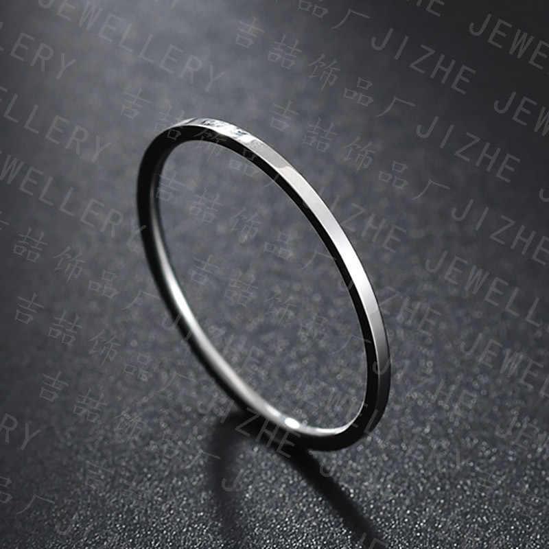 1mm tinh tế cực chất thép không gỉ bạc cặp đôi nhẫn cưới đơn giản thời trang đuôi vòng hoa hồng vàng nữ đính hôn nhẫn