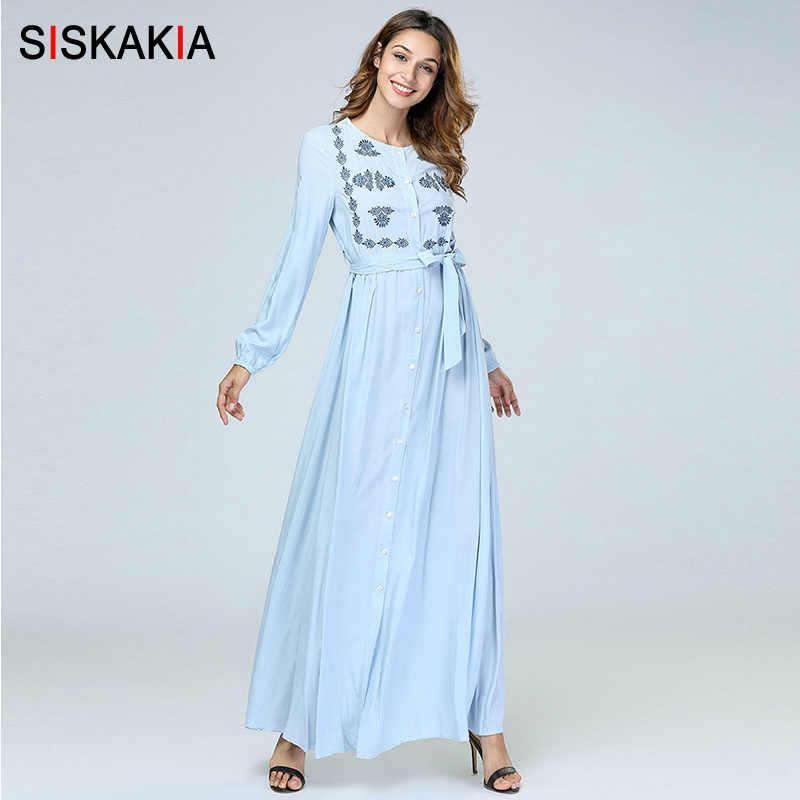 Siskakia Elegant Ethnic Floral Embroidery Women Long Dress Light Blue  Single-Breasted Maxi Dresses Swing 36f495189