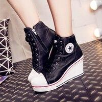 النساء حذاء جلد أسافين منصة الأحذية حذاء امرأة كعب مخفي عالية أعلى سنيكرز عارضة للمرأة في الكاحل زائد size43