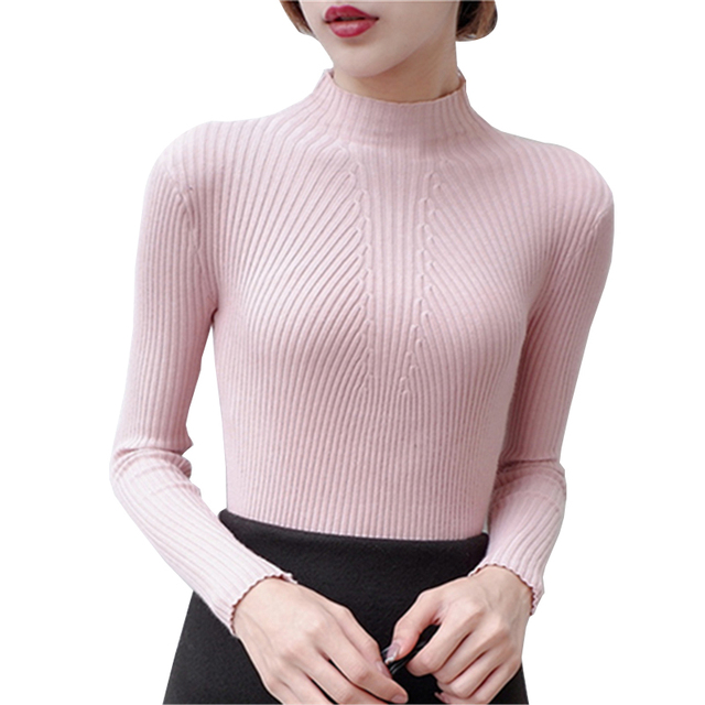 699e33e0f67e7b Women Sweater Pullovers 2017 Autumn Winter Half Turtleneck Long Sleeve  White Black Khaki Pink Women s Casual Knitting Sweaters
