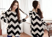 New 2014 Spring Plus Sizes Sweater Dress Women Stripes Long Sleeve Casual Loose Pullovers Knitted Tops