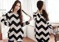 Nueva Primavera Tallas grandes Suéter Mujeres Del Vestido de Rayas de Manga Larga Casual Suéteres Sueltos de Punto Tops Negro + Blanco L/XL 25