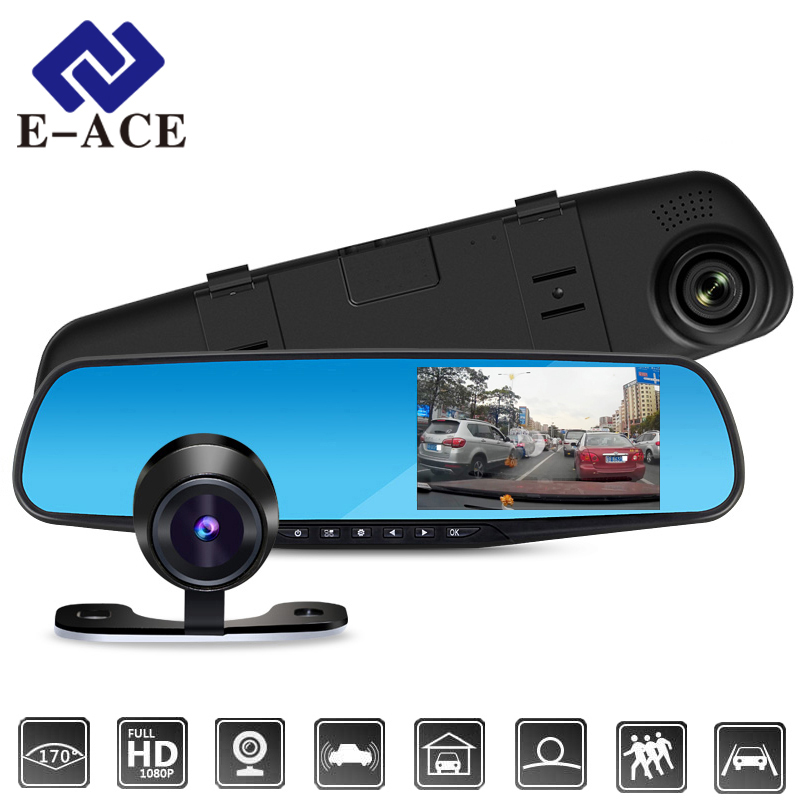 E-ACE Car Dvr FHD 1080P Dash Camera 4,3 cala Lusterko wsteczne DVR z RearView Camera Video Recorder Kamera Auto rejestrator
