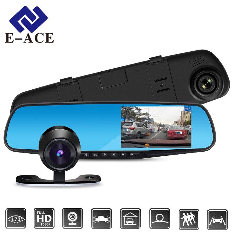 E-ACE Dell'automobile Dvr 1080 P Dual Lens Dash Fotocamera Posteriore Specchio Registratore Digitale Con Telecamera Per La Retromarcia Video Camcorder Recorder Cancelliere