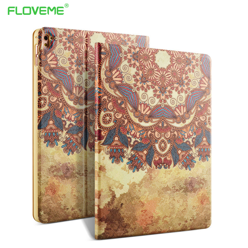 FLOVEME Smart Sleep Leather Case For iPad Pro mini 9.7 For iPad Pro 12.9 Art Printed Flowers Little Dog Stand Flip Leather Cover