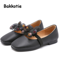Bakkotie New Spring Fashion Children Bow Flats Baby Girls Princess Shoes Kids Beige Pu Leather Brand Party Shoes Mary Jane 2019
