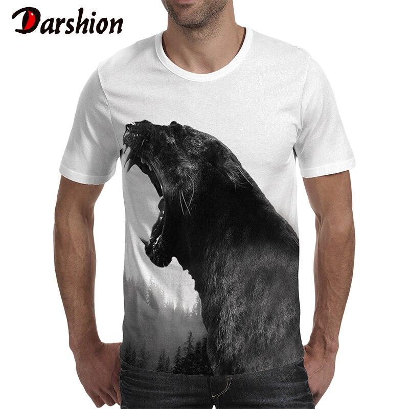 Darshion Summer Animal Print Men Tshirt  Fashion Short Sleeve 3D Black Panther Printed Men T Shirt Casual Beach Tshirt Men